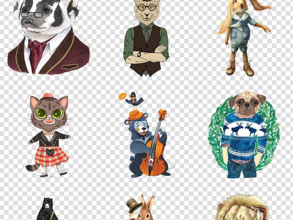 潮流拟人动物头像动物绅士海报免扣素材png