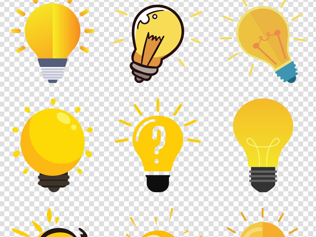 卡通创意黄色发光灯泡图标免扣png素材图片