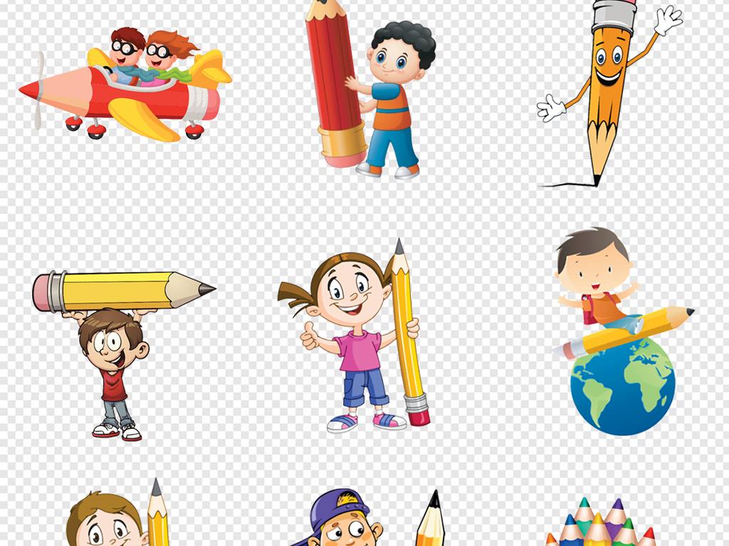 免抠元素 人物形象 动漫人物 > 卡通手绘儿童拿铅笔的人小孩彩色铅笔