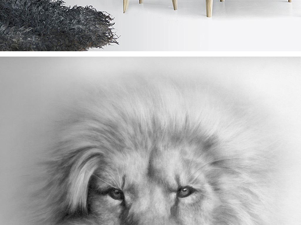 高清手绘黑白狮子玄关背景墙装饰画
