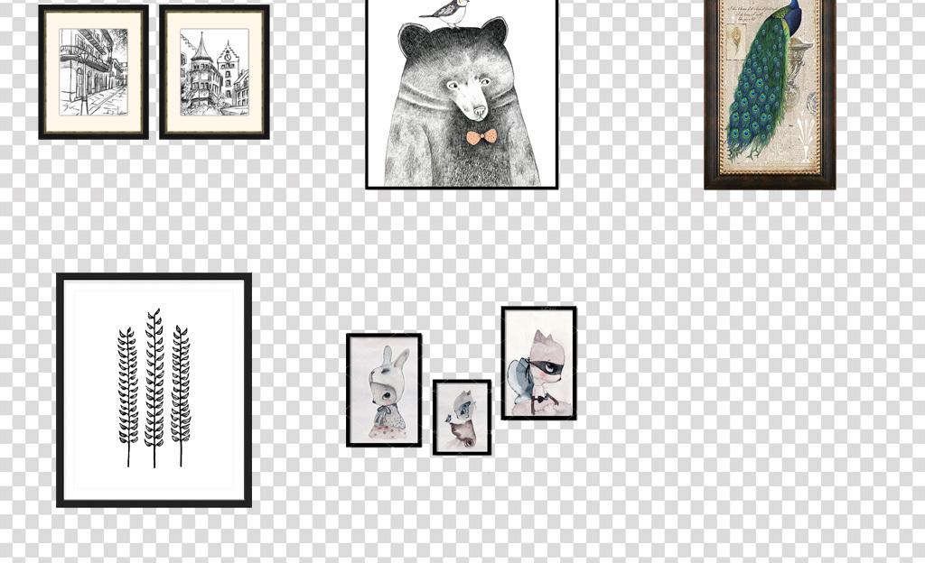 北欧简约挂画ins风格壁画装修贴图png图片