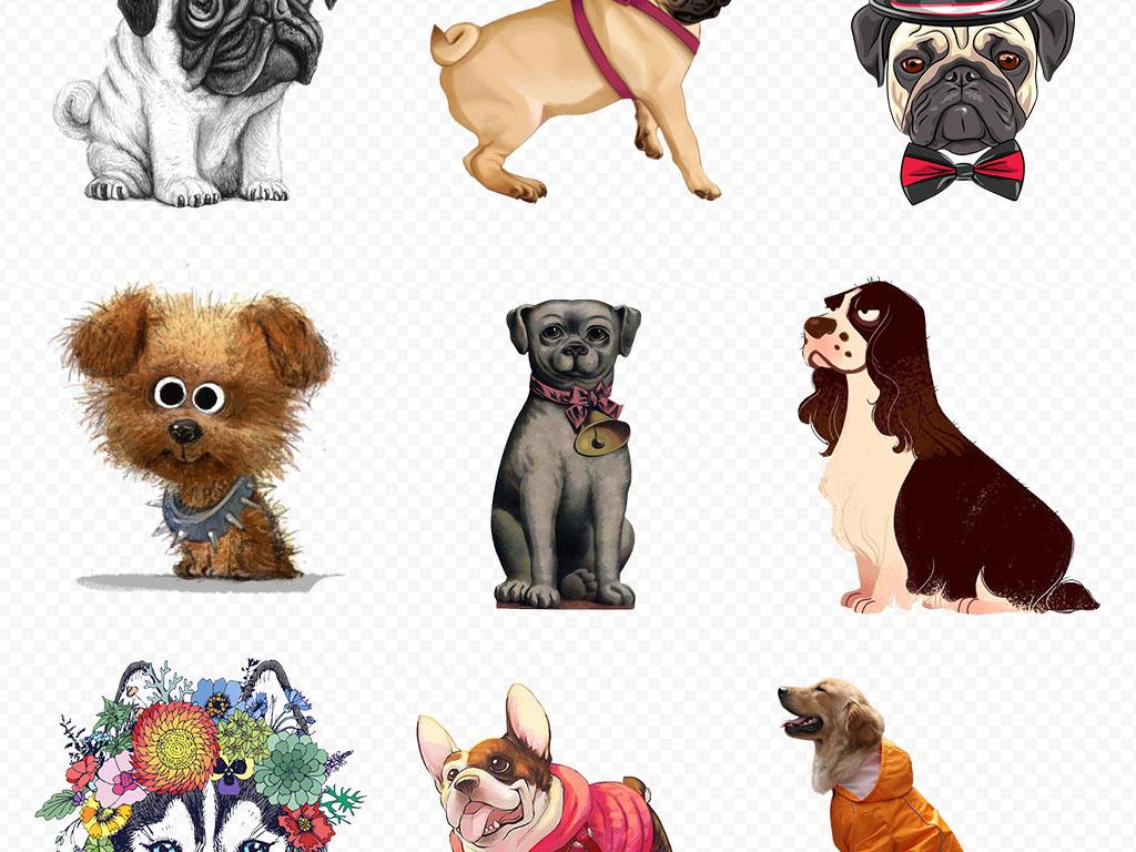 卡通手绘狗狗宠物泰迪金毛哈士奇海报素材背景图