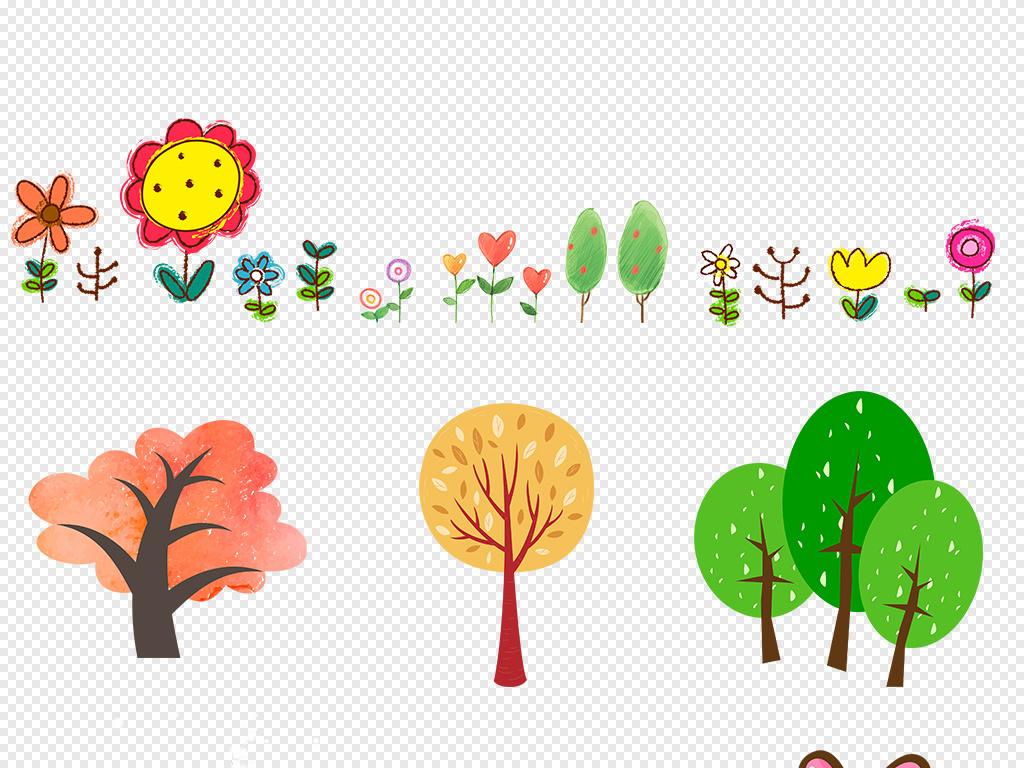 小草花草边框植物边框花边边框可爱边框植物素材卡通边框手绘卡通花草