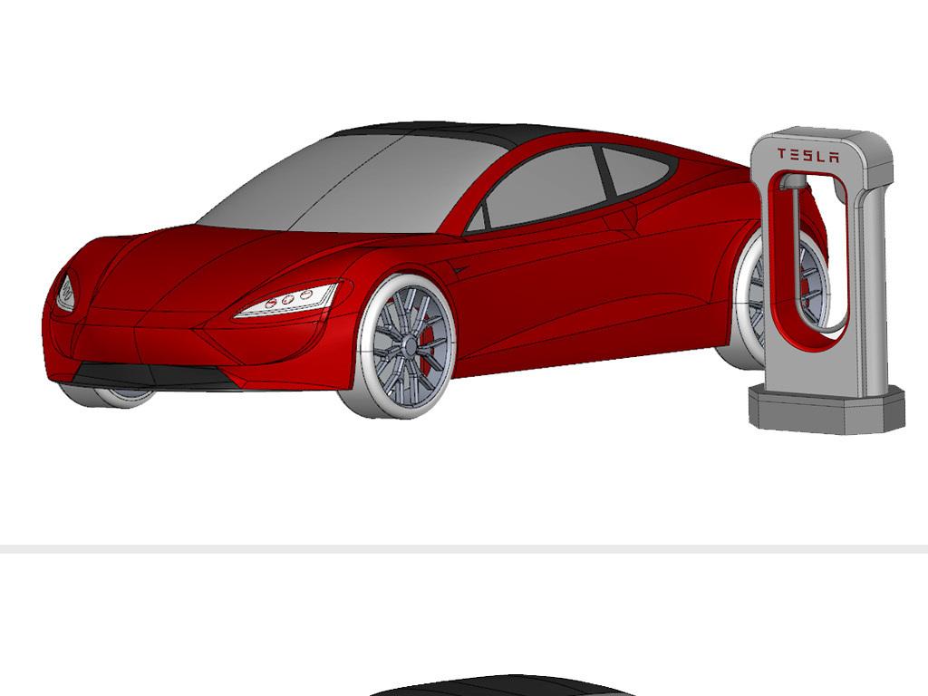 特斯拉Roadster(2020)+充电模型3d设备gsm远程控制图片