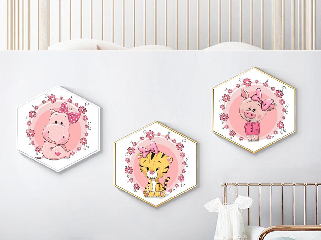 北欧抽象ins风粉色可爱卡通动物儿童房装饰画