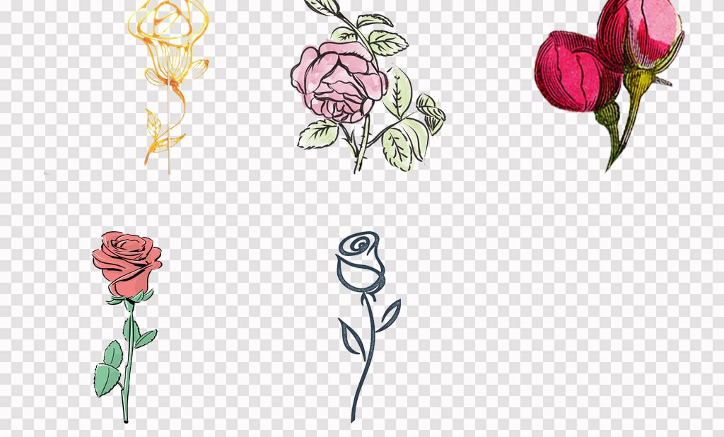 手绘唯美玫瑰花图案手绘月季玫瑰花水墨花卉png素材