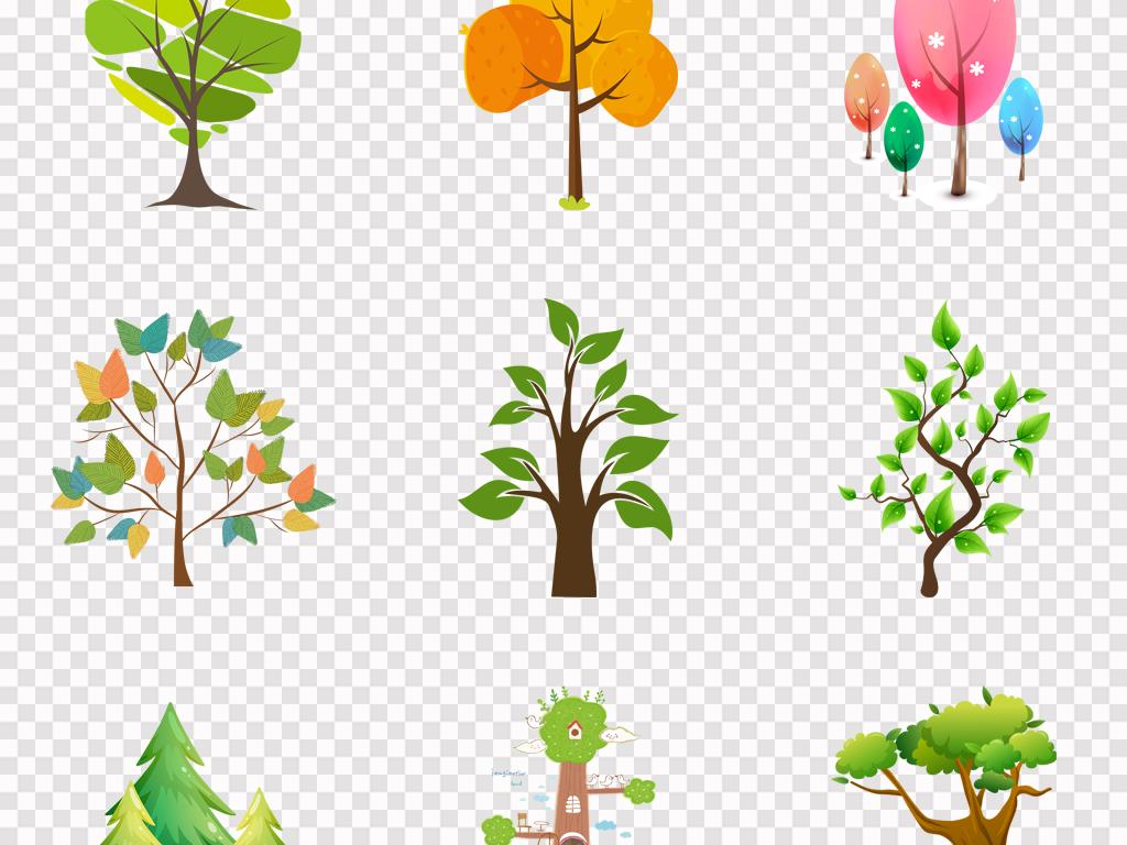 卡通可爱手绘抽象大树绿叶绿树大树环保海报png素材