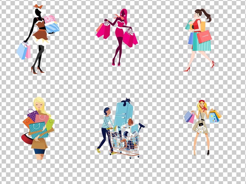 01476购物狂购物的女人卡通手绘购物的美女购物节疯狂