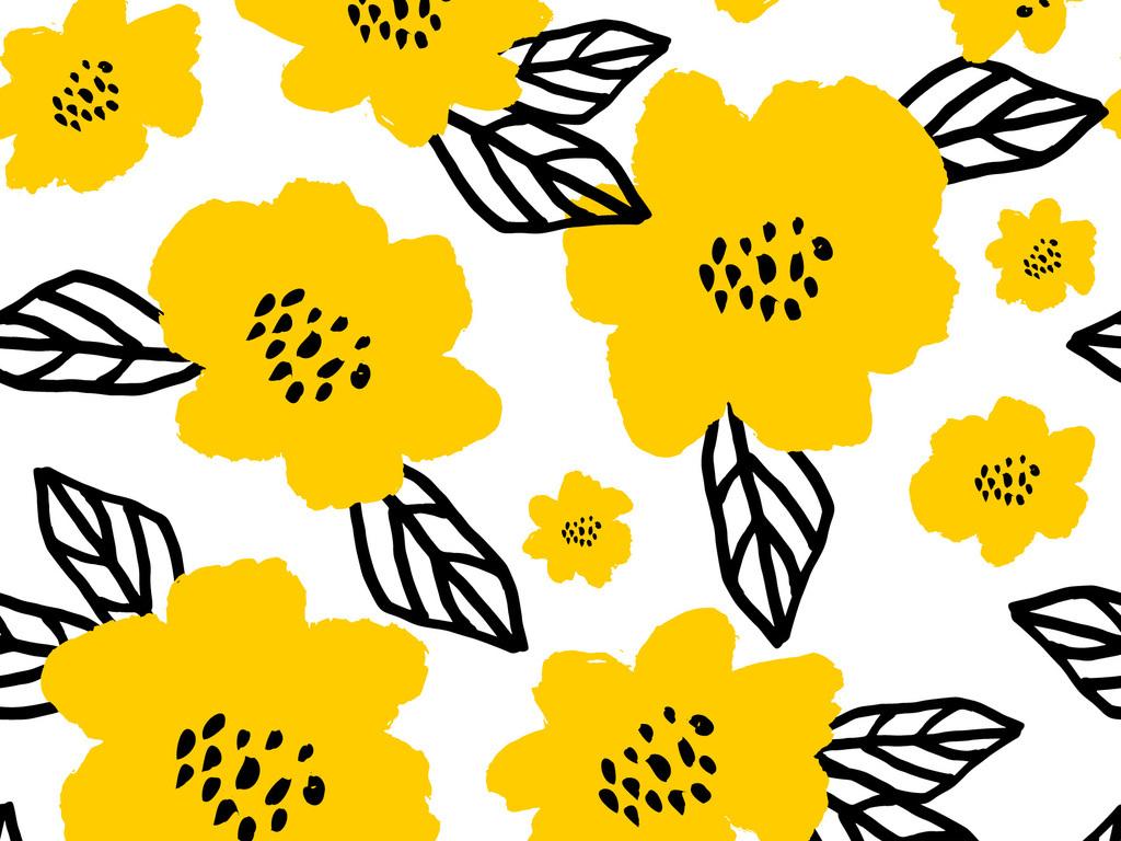 时尚手绘简约花卉无缝图案数码印花服装面料