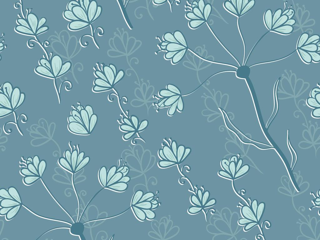 时尚手绘复古花卉无缝图案数码印花服装面料设计图片