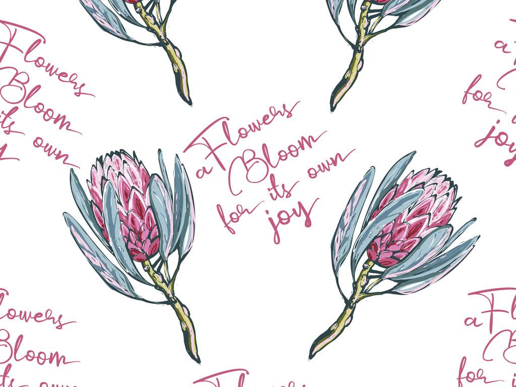 时尚手绘花卉字母无缝图案数码印花服装面料设计图片