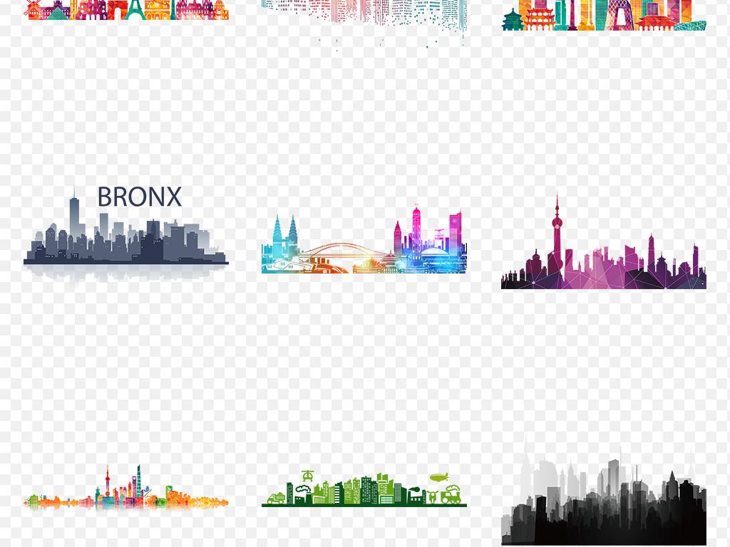 卡通手绘城市都市建筑房子剪影海报素材背景图片png