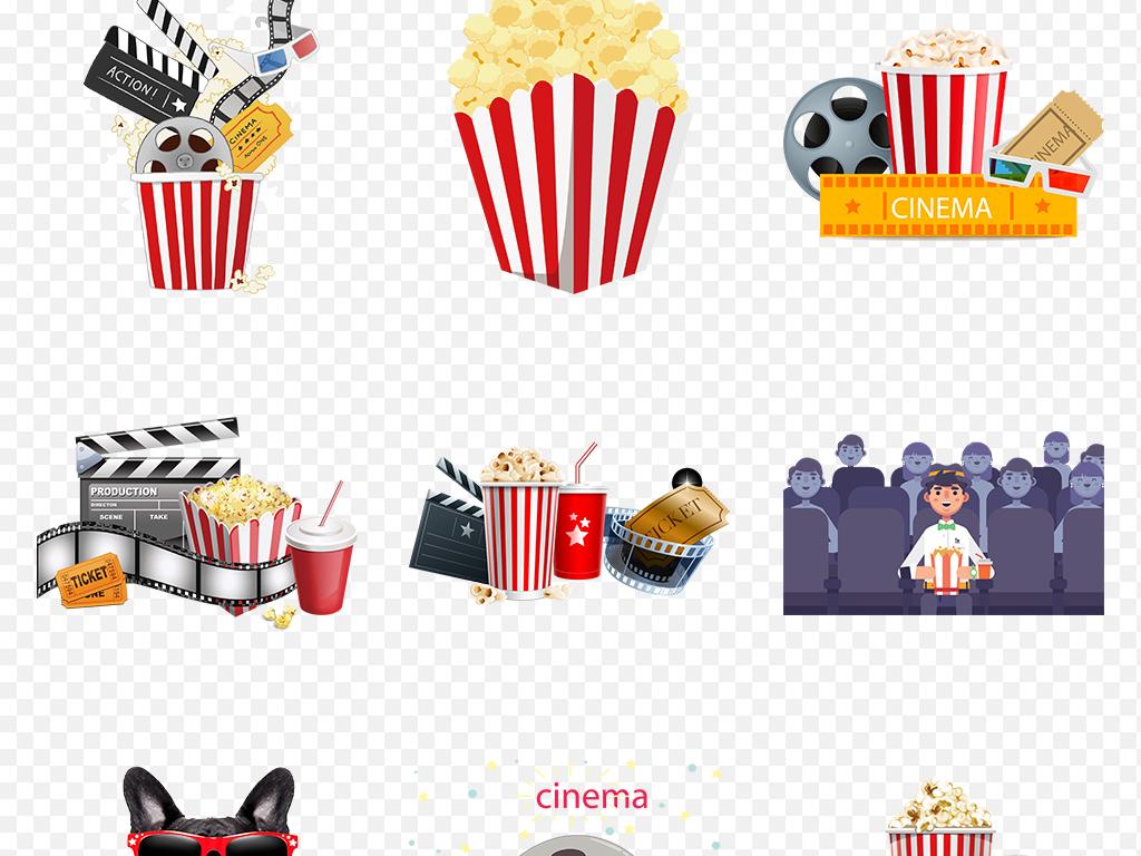 卡通手绘爆米花电影院零食海报素材背景图片png