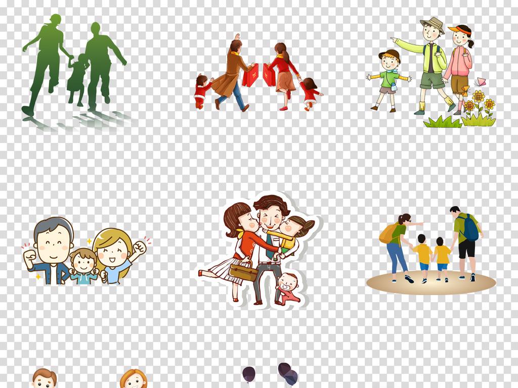 卡通温馨和谐一家三口休闲娱乐png素材
