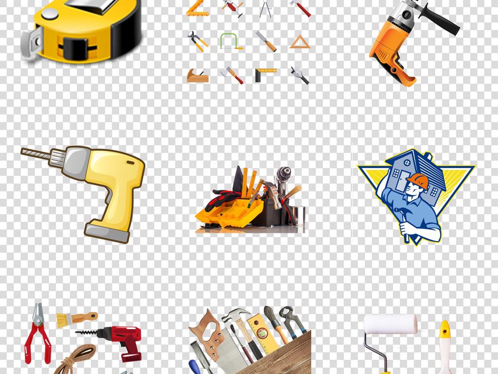 室内手绘装修工具工人必备工具png素材