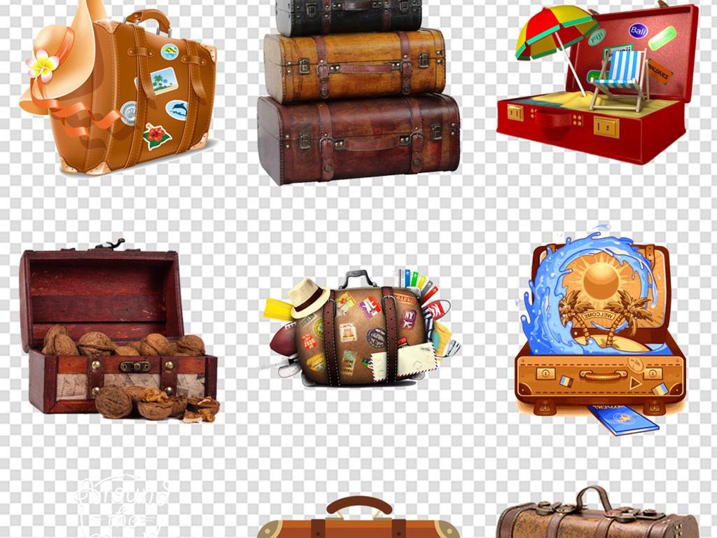 卡通旅游度假行李箱旅行箱海报免扣png图片