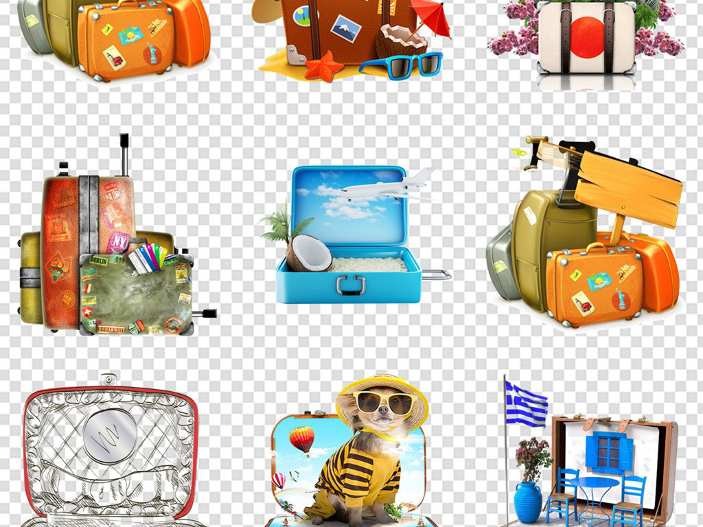 水彩旅行路牌飞机平面手绘皮箱