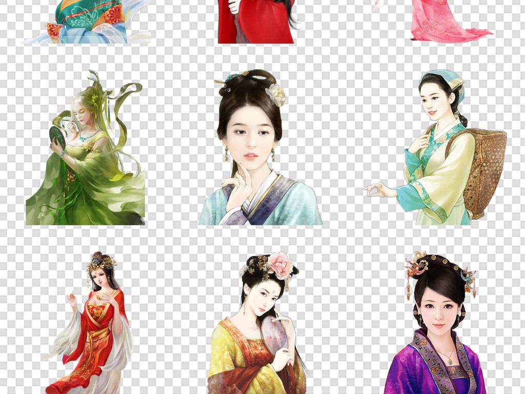 唯美古代古风古装古典美女人物海报素材png