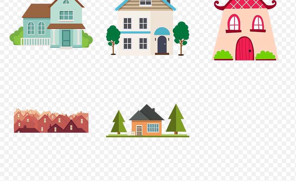 免抠元素 生活工作 城市建筑 > 卡通手绘扁平化房子楼房剪影图标海报