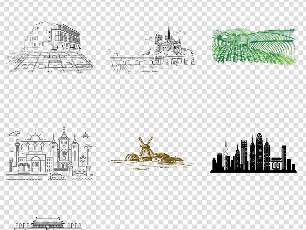 手绘线稿简笔画城市建筑背景png素材图片 模板下载 19.09MB 城市建筑大全 生活工作