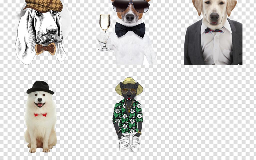 动物头像潮流拟人绅士动物免扣png