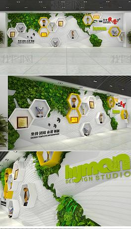 创意绿植企业荣誉墙展厅文化墙设计