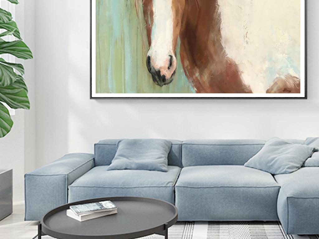现代简约手绘油画骏马客厅家居装饰画
