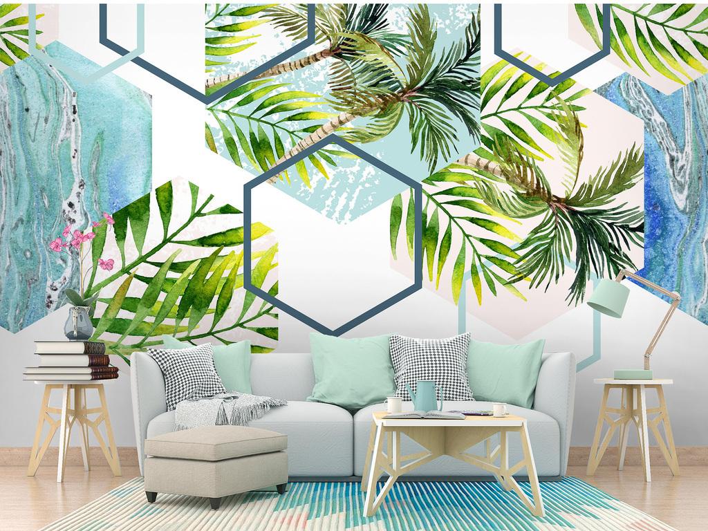 背景墙 电视背景墙 手绘电视背景墙 > 北欧热带植物几何线条电视背景