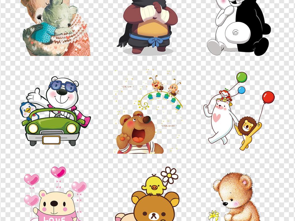 玩具店卡通手绘小熊北欧水彩吉祥物海报png素材