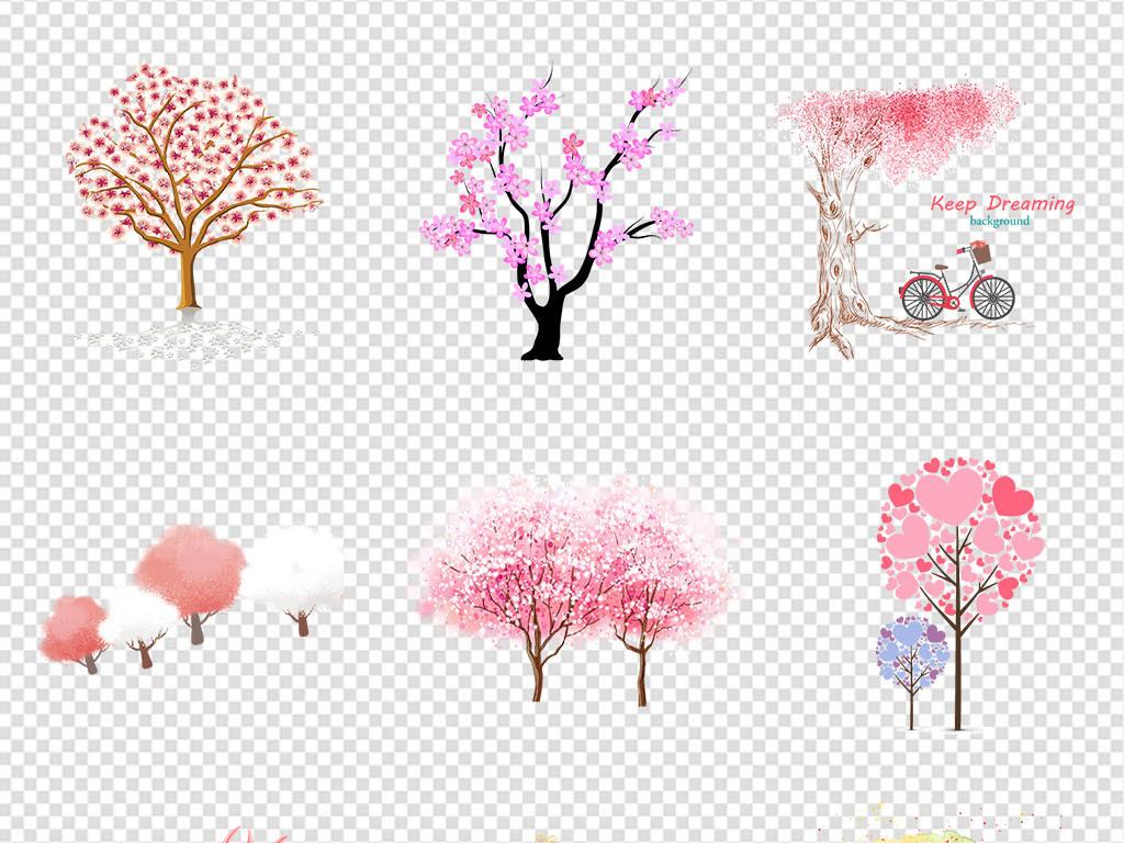 浪漫粉红色樱花树桃树手绘粉色树png素材