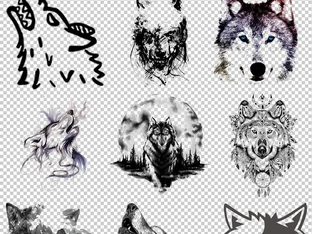 卡通手绘狼人动物狼头图片海报png免抠素材