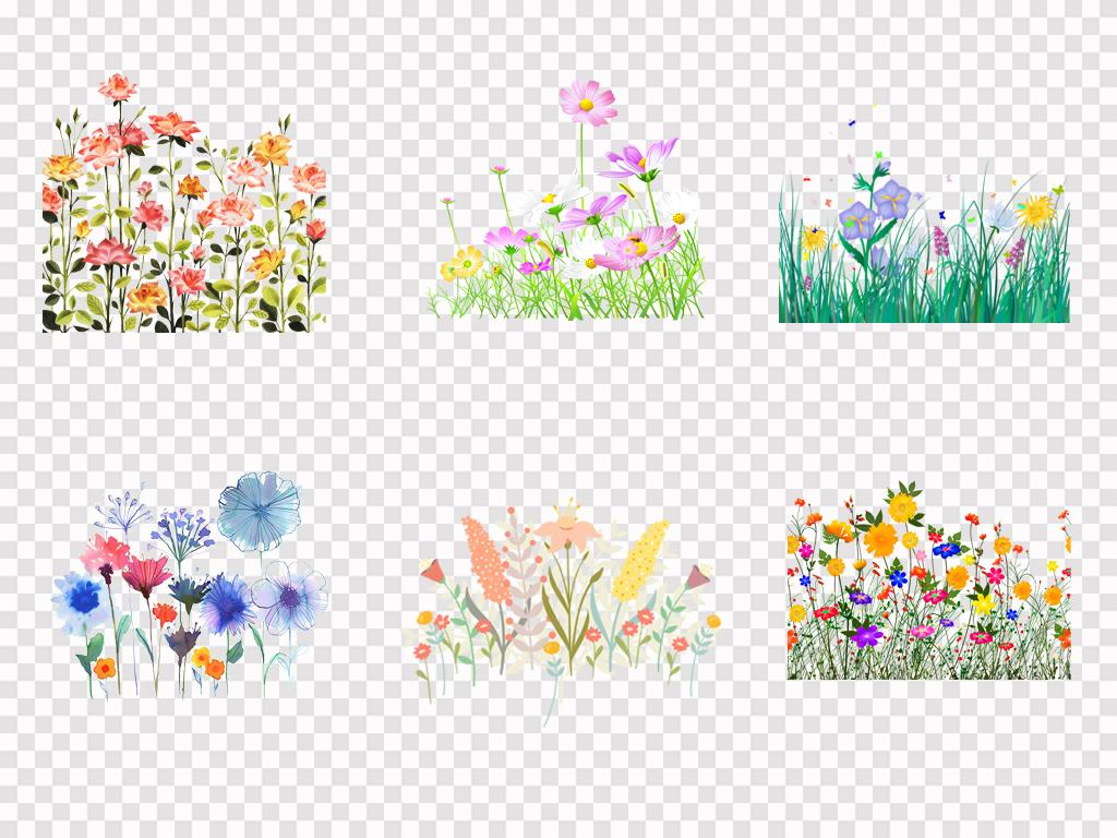手绘卡通鲜花花丛园林景观绿色花草植物png素材