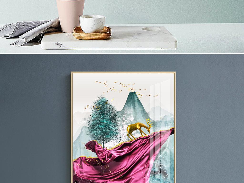 新中式现代艺术抽象风景森林麋鹿玄关装饰画