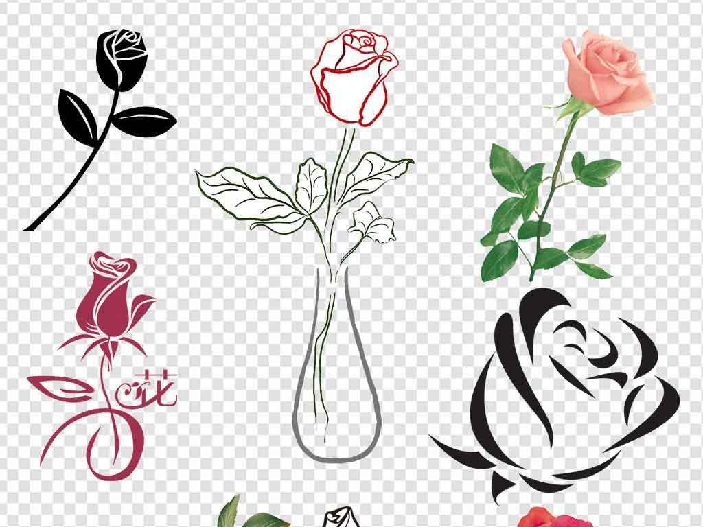 卡通玫瑰花手绘花朵边框玫瑰花水墨花卉素材