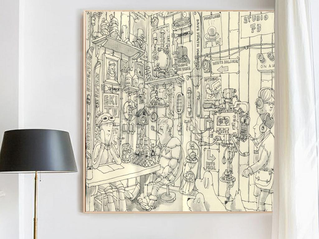 现代简约手绘后现代抽象立体创意建筑几何图案客厅装饰画7