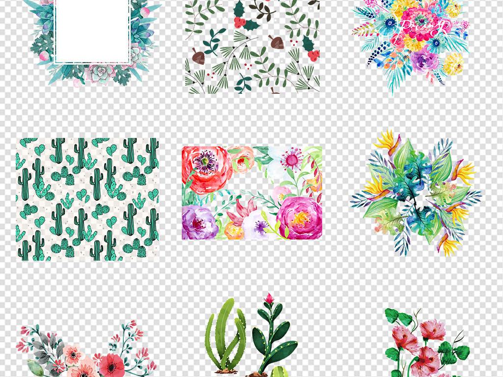 森系热带植物花草花卉水彩手绘火烈鸟素材