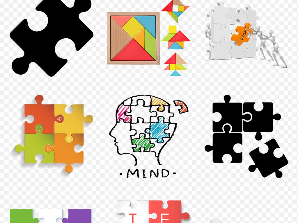 卡通手绘彩色拼图创意商务ppt海报素材背景图片png