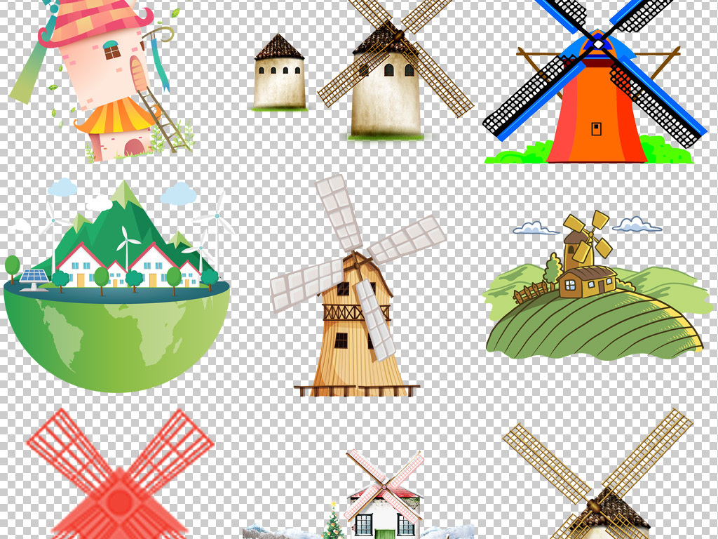 卡通手绘风车屋小木屋茅屋png透明背景免抠素材