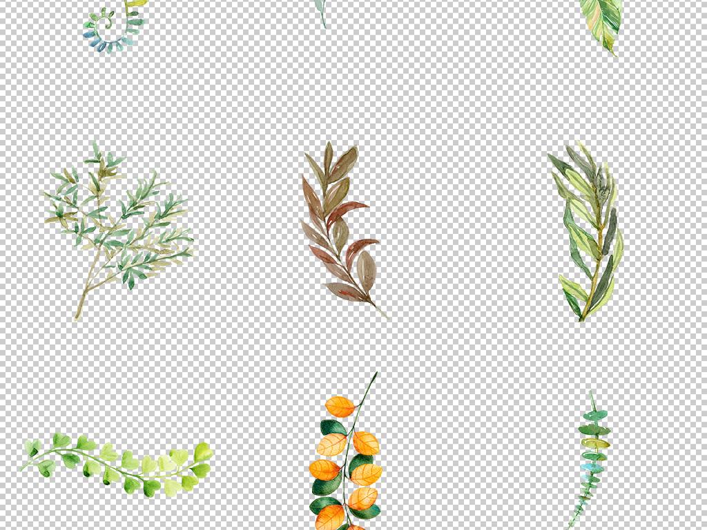 清新文艺手绘绿叶树叶免抠图png素材