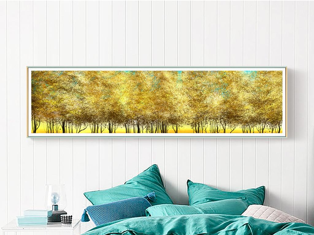 北欧现代艺术抽象风景金色森林床头装饰画