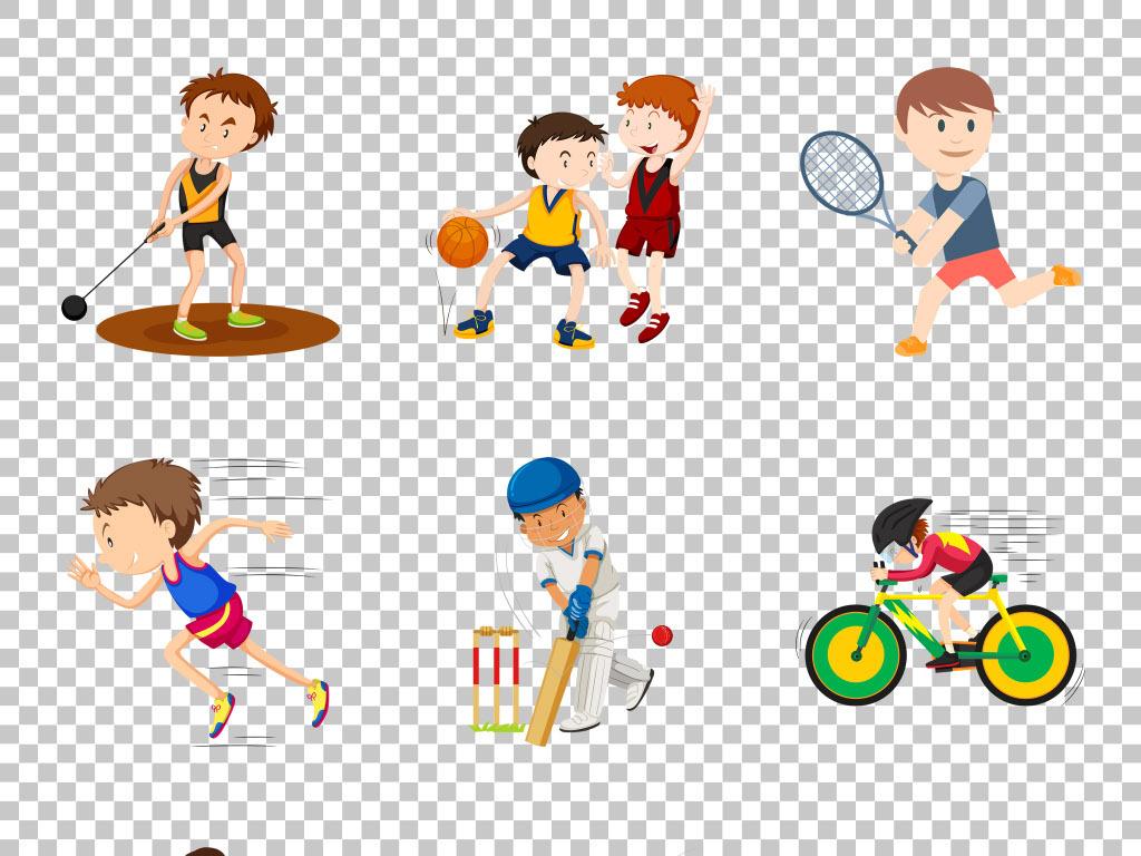 手绘卡通创意体育运动项目免抠png素材