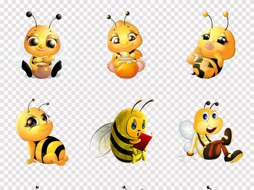 可爱卡通手绘小蜜蜂蜂蜜采蜜海报png素材