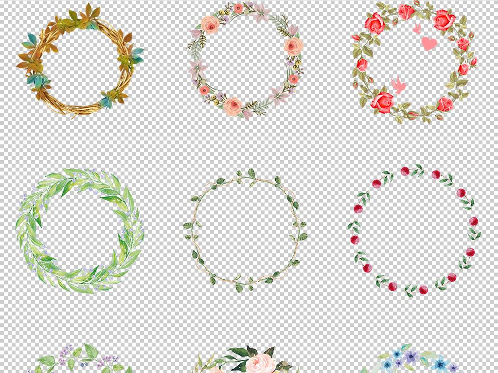 小清新女装花环边框水彩花卉唯美海报png素材2