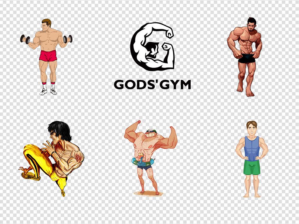 手绘卡通运动健身肌肉男美女哑铃png素材