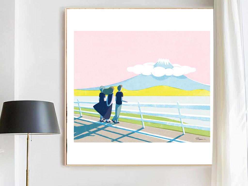 北欧简约小清新自然风景卡通简笔画唯美风景现代客厅装饰画2