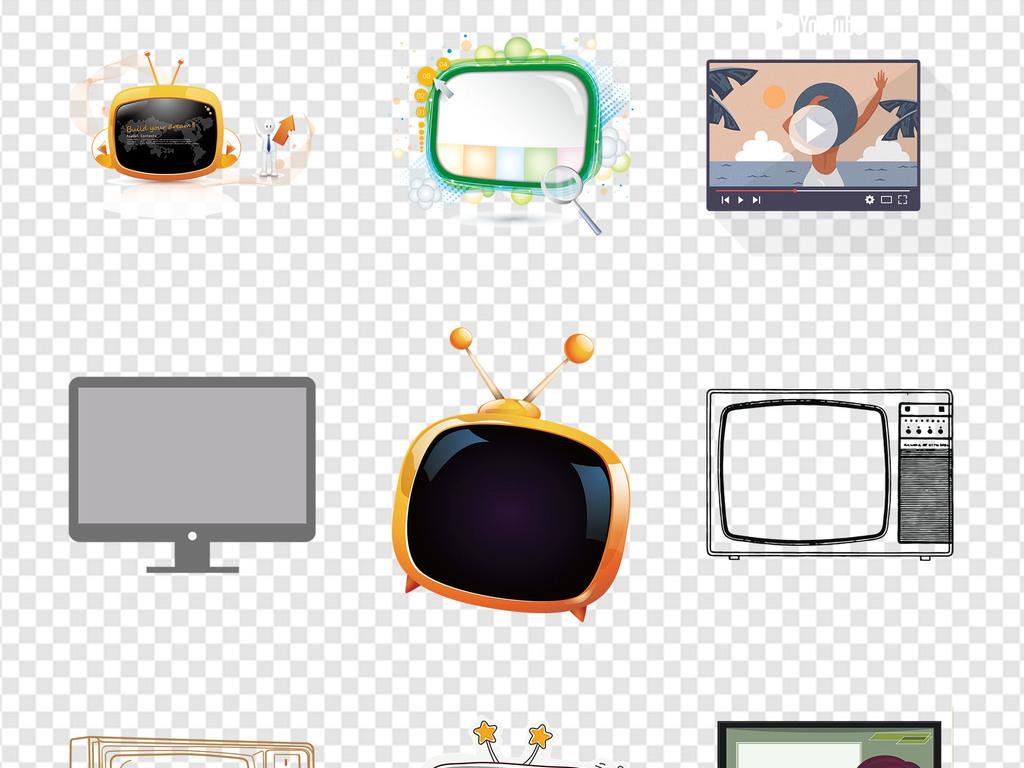 免抠元素 标志丨符号 图标 > 复古液晶电视直播可爱电视机海报png素材