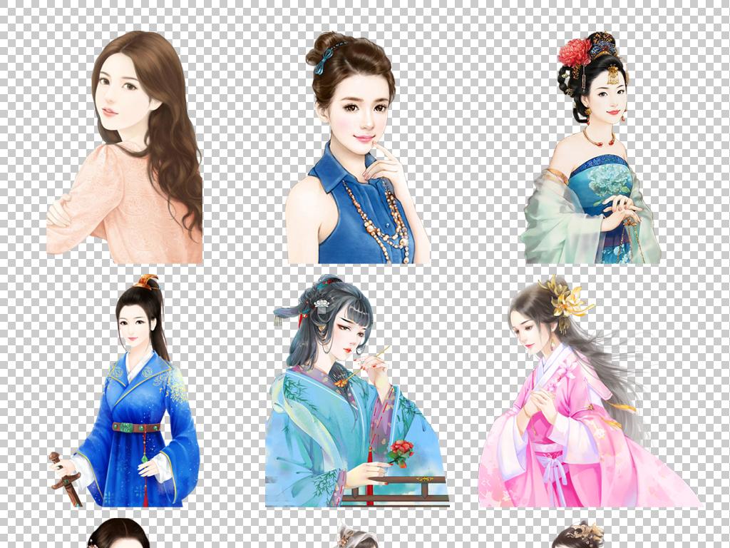仙女古典美人皇帝妃子手绘
