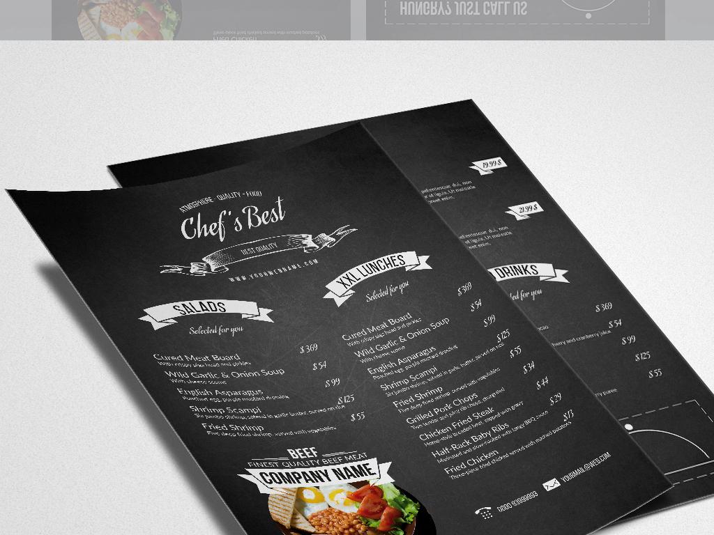 黑色手绘西餐美食菜单设计图片素材_高清psd模板下载