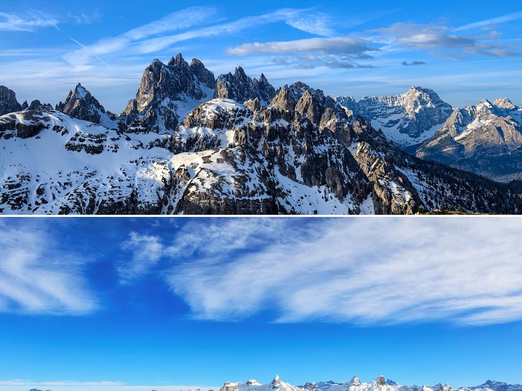 高清唯美冬季白色雪景树林雪山山脉自然风景banner背景