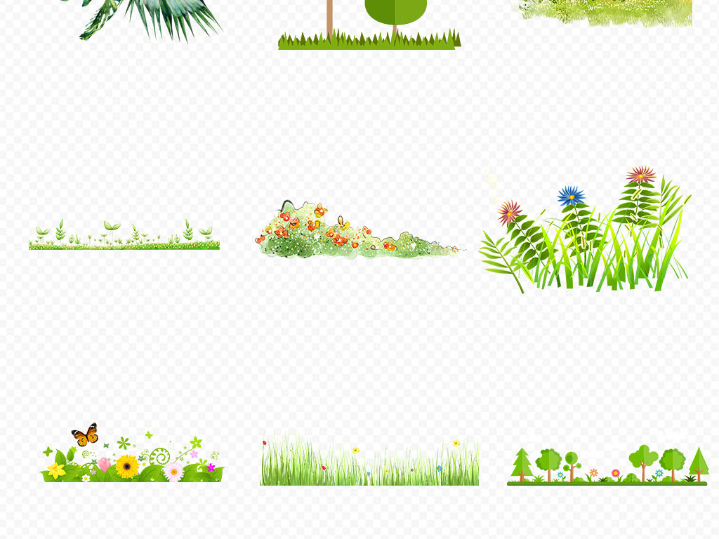 免抠元素 自然素材 花卉 > 手绘小花小草卡通花草植物边框png免扣素材